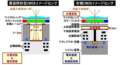 裏面照射型CMOSセンサー(左)と有機薄膜CMOSセンサー(右)の構造比較