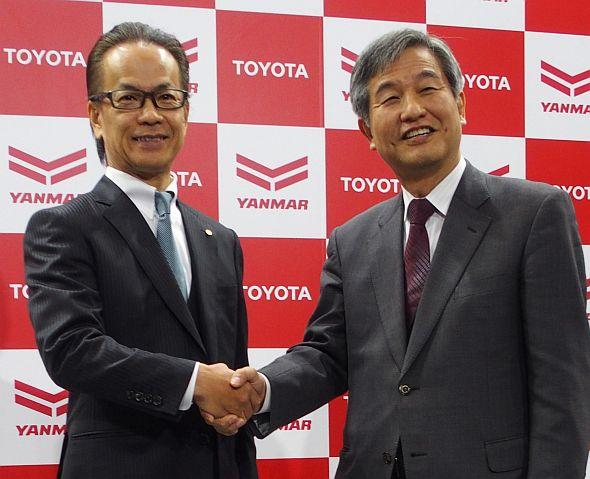 トヨタ自動車の友山茂樹氏(左)とヤンマーの苅田広氏(右)