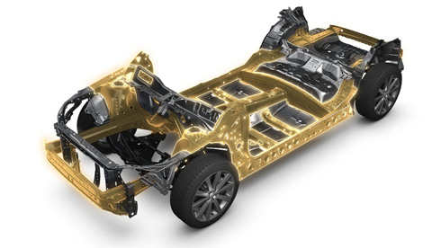 2025年までに軽自動車と「BRZ」を除く全てのモデルに採用する次世代プラットフォーム「スバル グローバル プラットフォーム」