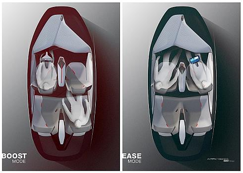 Boostモード(左)とEaseモード(右)のシート配置