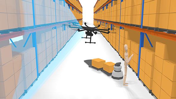 非GPS環境の室内を自動飛行するドローンのイメージ(出典:リコー)