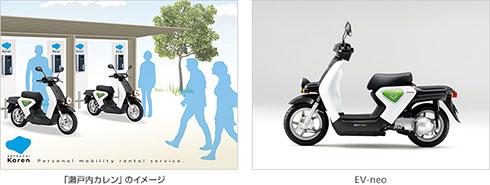 「瀬戸内カレン」のイメージとホンダの電動バイク「EV-neo」