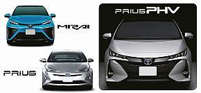 新型「プリウスPHV」(右)と燃料電池車の「ミライ」(左上)、4代目「プリウス」のフロントフェイス比較