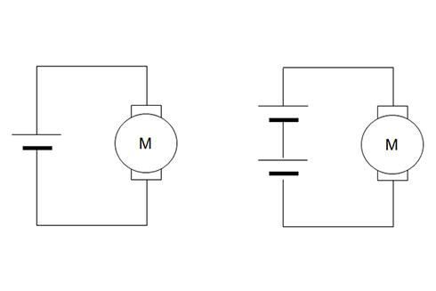 図1.モーターに電池を1つ(左)、2つ(右)つないだ状態の回路図