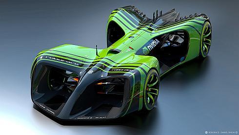 「ロボレース」の専用電気自動車フォーミュラカーのデザイン
