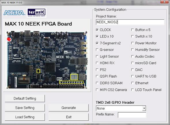 Photo01:プロジェクト名は「NEEK_NIOS2」とした