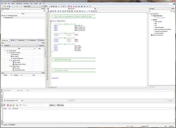 Photo02:Photo01では指定していないPS2の信号線が定義されているのは、恐らくはSystem Builderのバグであろう。HEX0/HEX1は7セグLED