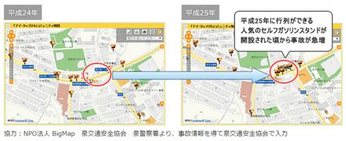 事故情報を地図上に反映させた例。ガソリンスタンドの開設によって事故が急増したと分析できる