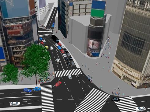 「PTV Vissim/Viswalk」は条件を自由に選択し、公道に近い交通環境を再現できる