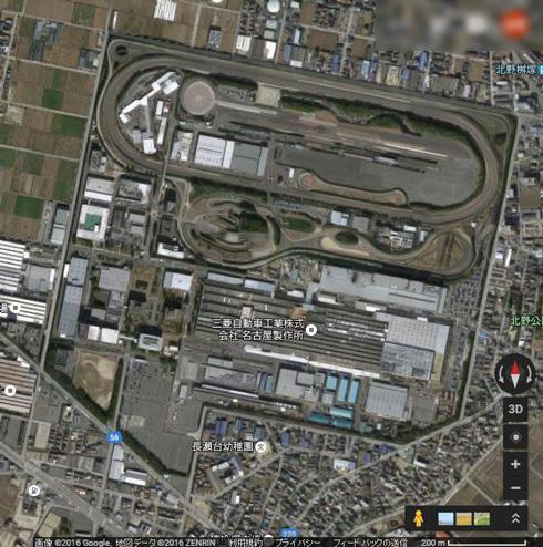走行抵抗値を測定する技術センター(愛知県岡崎市)。右下に縮尺