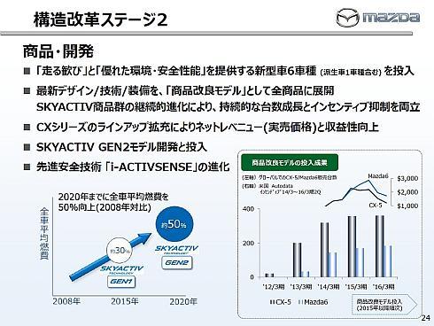 「構造改革ステージ2」における商品と開発の方向性