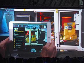 「iPad」でキャタピラーの発電機「XQ35」をARアプリで撮影