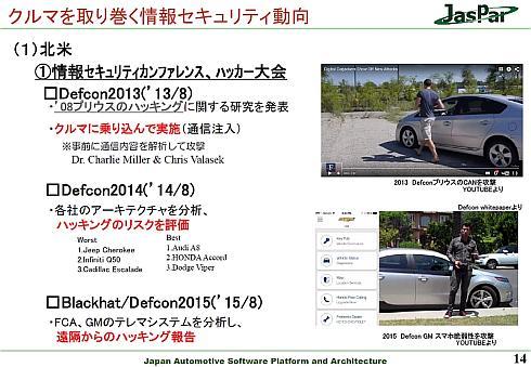 「BlackHat/Defocon」における自動車のセキュリティ欠陥の報告
