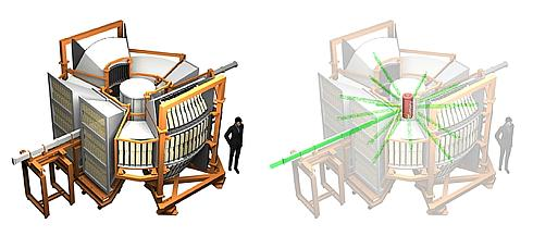 「SPICA:BL09」の外観図(左)と実験の概要図(右)