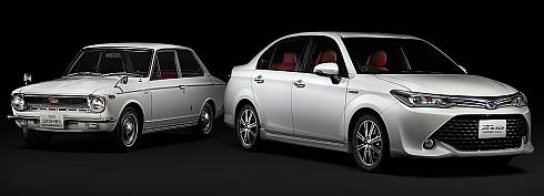 """初代「カローラ」(左)と500台限定で発売される「HYBRID G""""50 Limited""""」(右)"""