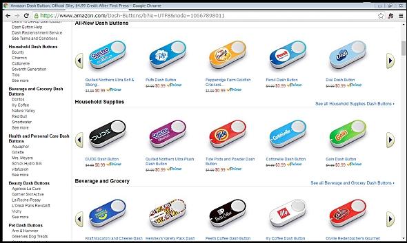 「Amazon Dash Button」を販売しているAmazon.com内のWebページ
