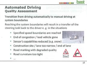 急カーブ、車線の狭さ、速度など、手動運転に戻る境界線は
