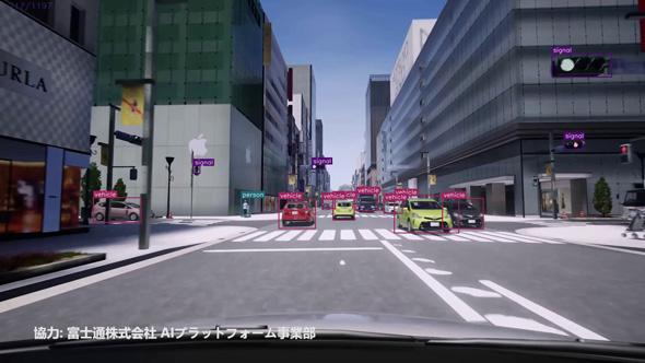 シミュレーション環境で再現した東京都中央区銀座3丁目の交差点。アップルストアが見える