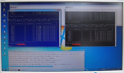 暗号あり(左)と暗号なし(右)のデータベースにおけるデータ処理時間の比較