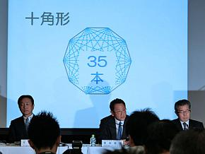 カンパニー制の導入の狙いを図形で説明する豊田章男氏