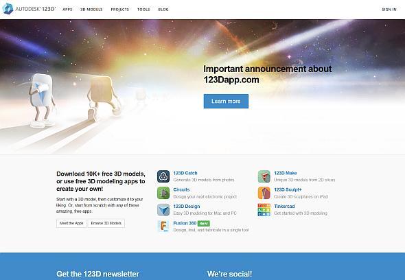 「123Dシリーズ」のWebサイト