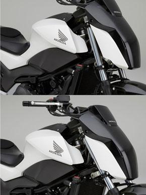 キャスター角を可変とすることで、速度域に応じて直進安定性とハンドリング性能のいいとこどりが可能に
