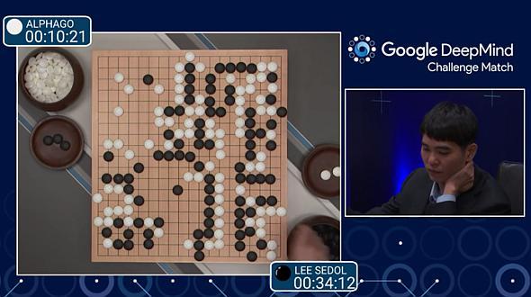 「AlphaGo」と現役囲碁チャンピオンが対戦する様子