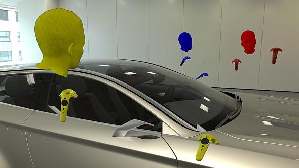 SCSKが開発した「VRED コラボレーションシステム」によるVR空間を共有したデザインレビューのイメージ