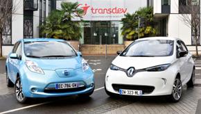 日産自動車「リーフ」とルノー「ゾエ」。電気自動車を活用した実証実験を行う