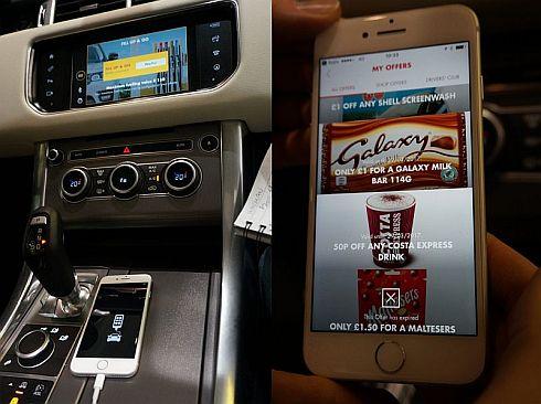 ジャガーランドローバーの車載システム「InControl」とスマートフォンの連携により、ワンタッチでの給油代金支払いを実現した(左)。またシェルのサービスを利用した人には、スマートフォンに割引クーポンが配信される(右)(クリックで拡大)