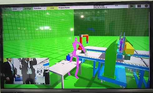 第三者視点から見たVR空間内の「Oculus Rift」装着者と生産ラインの状態