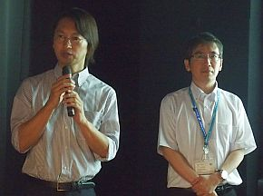 JDIの林宗治氏(左)とNHK-MTの大塚悌二朗氏(右)