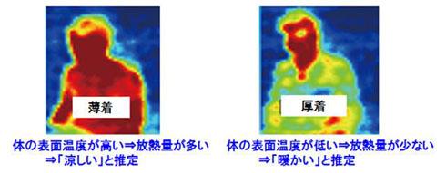 赤外線アレイセンサーで薄着の人と厚着の人を対象に温冷感を推定した様子