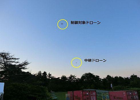 169MHz帯電波でマルチホップ飛行するドローン