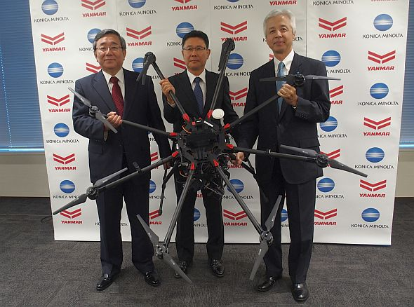左から、ヤンマーの鈴木岳人氏、ファームアイの吉田博氏、コニカミノルタの市村雄二氏