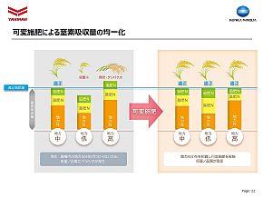 可変施肥による窒素吸収量の均一化