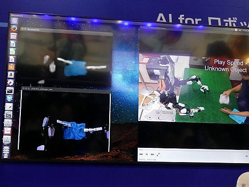 左下がカメラ映像で、左上が予測モデル
