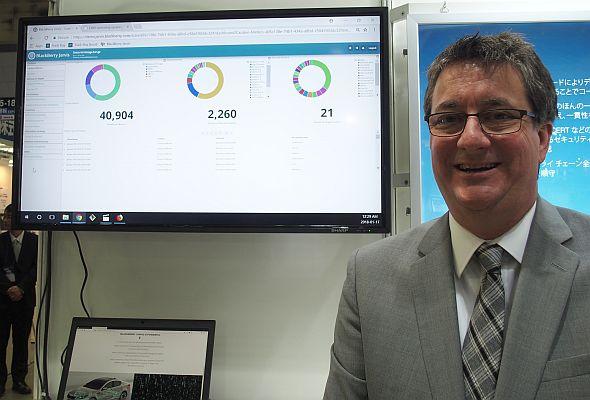 「BlackBerry Jarvis」について説明するBlackBerry QNXのグラント・クールビル氏