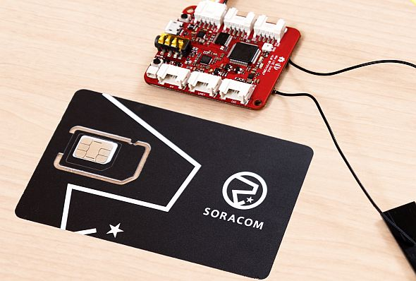 「SORACOM Air for セルラー」のSIMカードとLTE Cat.1モデム搭載済みのIoTデバイス「Wio LTE」