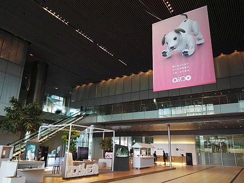 ソニー本社エントランスにも「aibo」の大きな垂れ幕
