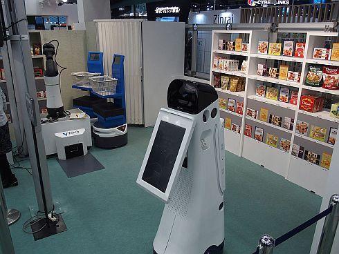 NECの店舗の業務支援ロボットシステムの展示