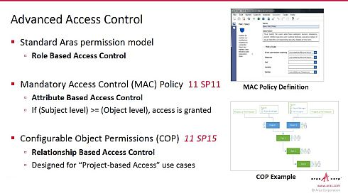 「Aras Innovator」の新機能。役割ベース以外に、属性ベースやプロジェクトベースでもアクセス制御を可能にする(クリックで拡大) 出典:アラスジャパン