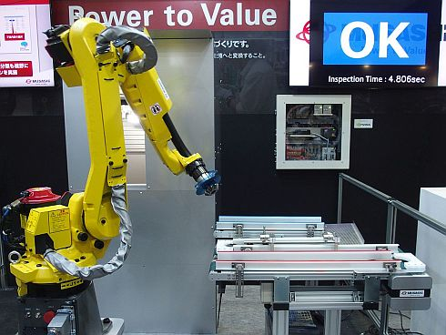 武蔵精密工業が披露したべベルギアの自動検品システム