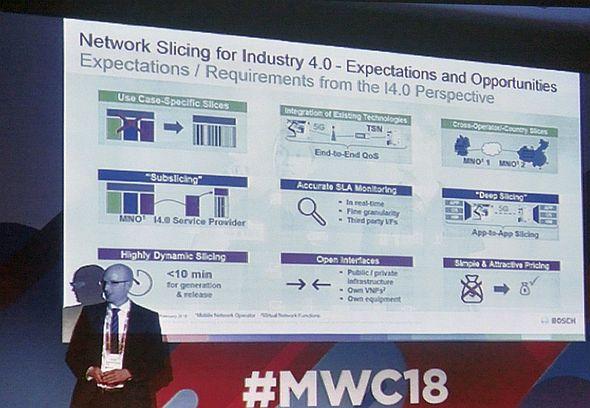 「MWC 2018」の講演でネットワークスライシング技術の重要性を強調するボッシュのアンドレアス・ミュラー氏
