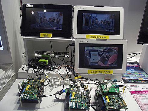 東芝デバイス&ストレージの「TC9560」を用いた映像同期デモ