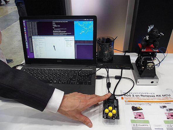 ROS 2のRTPSを用いてジョイスティックで怪獣ロボットを動かすデモ