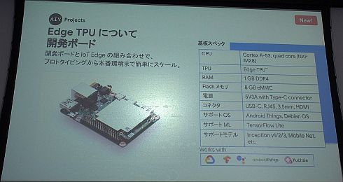 「Edge TPU」の開発ボード「AIY Edge TPU Dev Board」の仕様