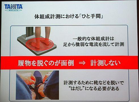 従来の体組成計測では靴や靴下を脱ぐというひと手間が必要だった