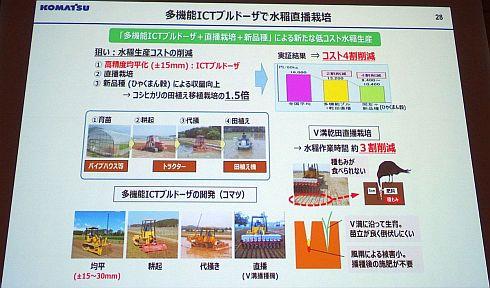 多機能ICTブルドーザーによる水稲直播栽培の成果