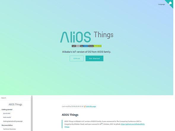 アリババのIoTデバイス向け組み込みOS「AliOS Things」のWebサイト